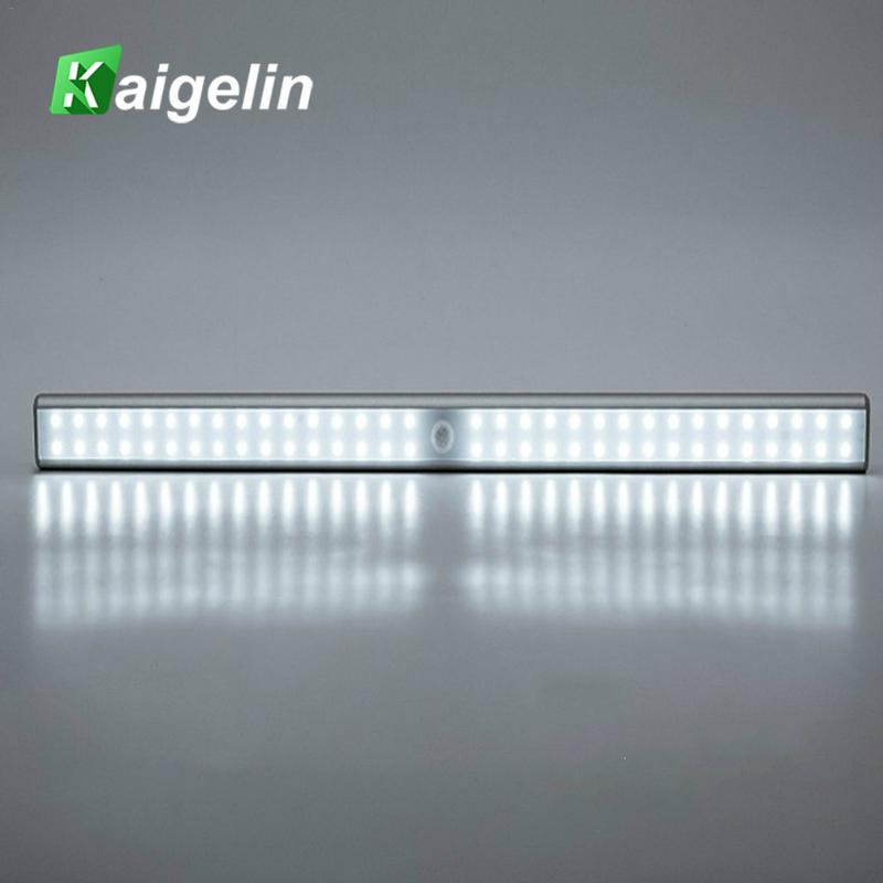 LED Under Cabinet Light PIR Motion Sensor Lamp 64 LEDs 48mm USB Lighting for Wardrobe Cupboard Closet Kitchen Night Light