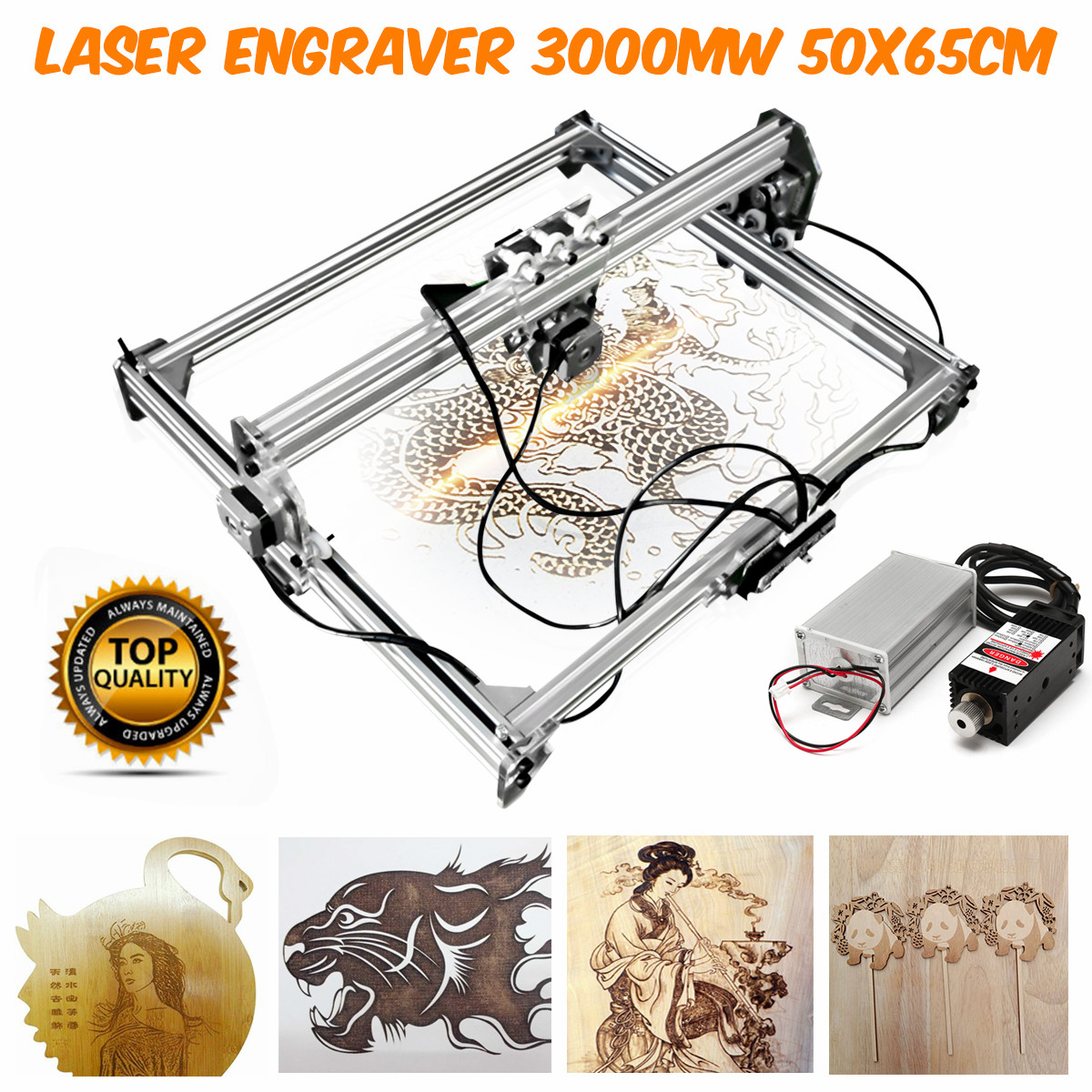 DC 12V Mini 3000MW Blue Laser Engraving Engraver Machine 50*65cm DIY Desktop Wood Cutter/Printer/Power Adjustable+ Laser