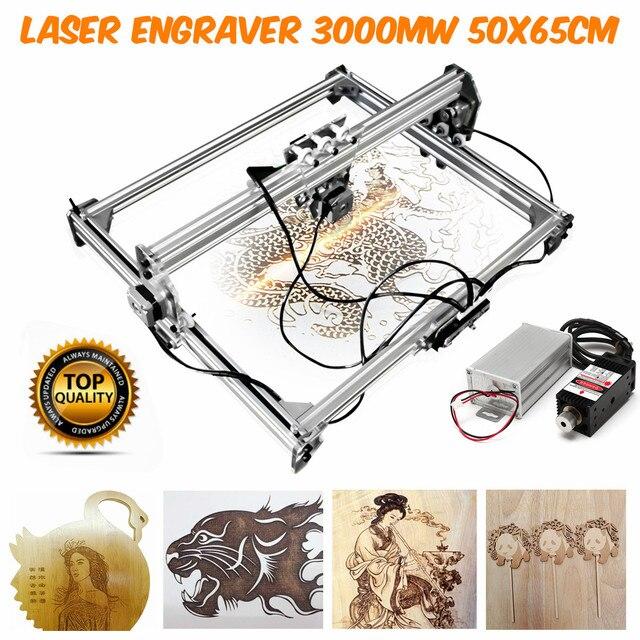 DC 12V Mini 3000MW Blue Laser Engraving Engraver Machine 50*65cm DIY Desktop Wood Cutter/Printer/Power Adjustable+ Laser Goggles