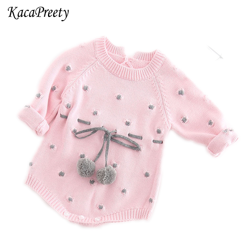 6401a1a7782f Newborn Baby Girl Clothing Rompers Wool Knitting terry ball design ...