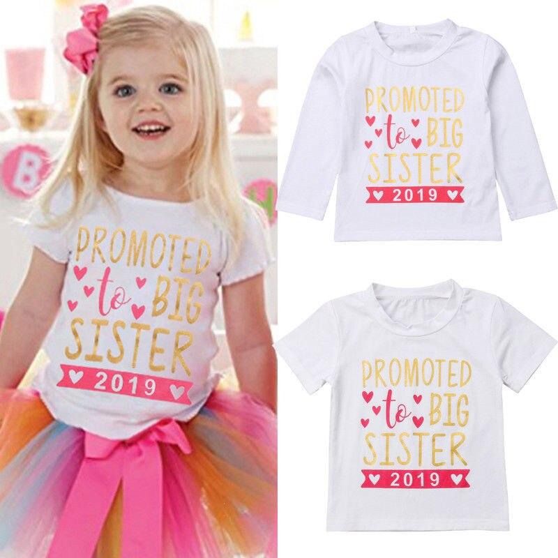 2-7 T Kinder Baby Mädchen 2019 T-shirt Kleinkind Große Schwester T-shirts Nette Prinzessin Tops Baumwolle Kleidung