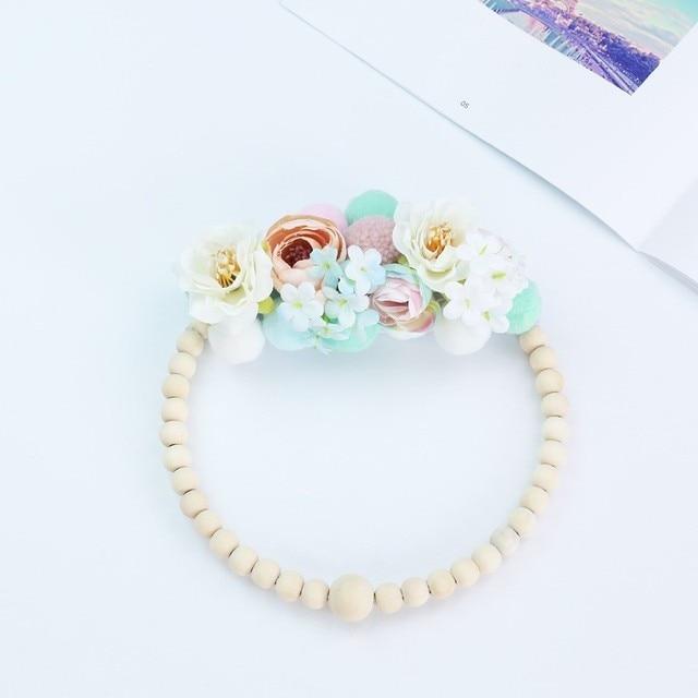 Cercle déco fleur perle bois 2