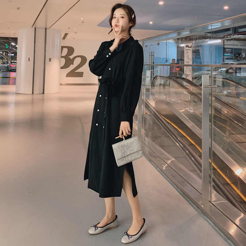 LANMREM 2019 весенняя одежда для женщин, новый узор, корейский темперамент, двубортное шифоновое платье с поясом, вентиляционный низ YG940