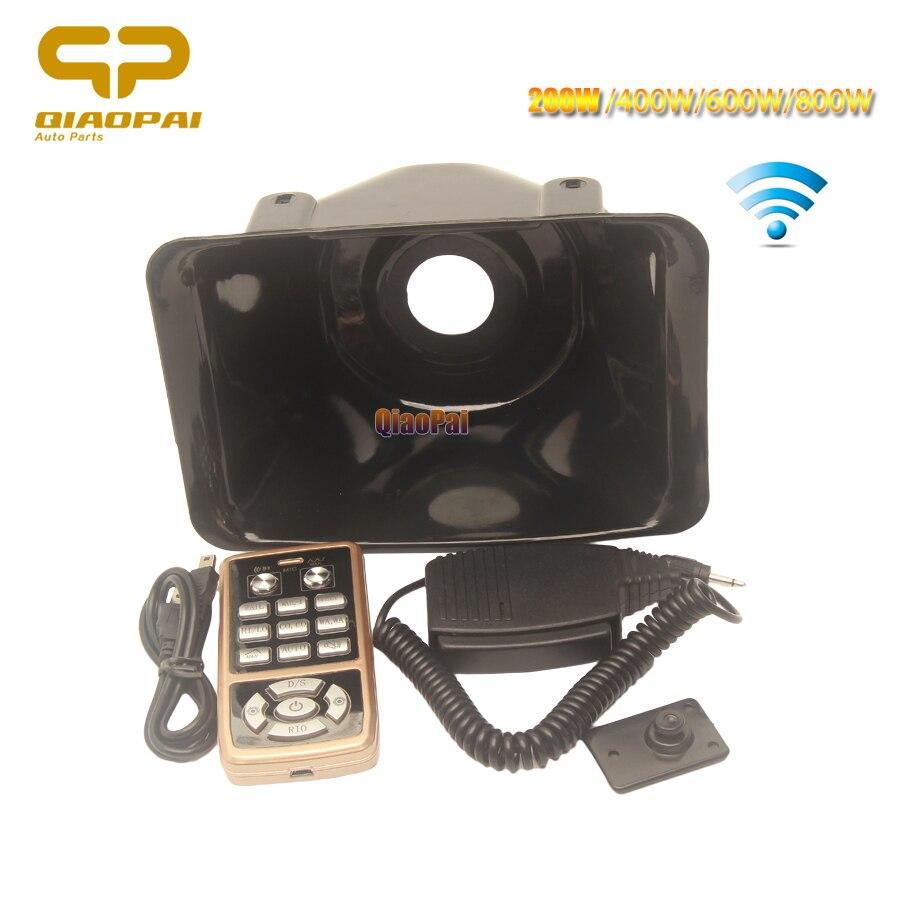 Universal Wireless Remote Control Alarm Horn 100W 200W 400W 600W 800W Police Siren Mic System Adapter Car Speaker Megaphone AUTO