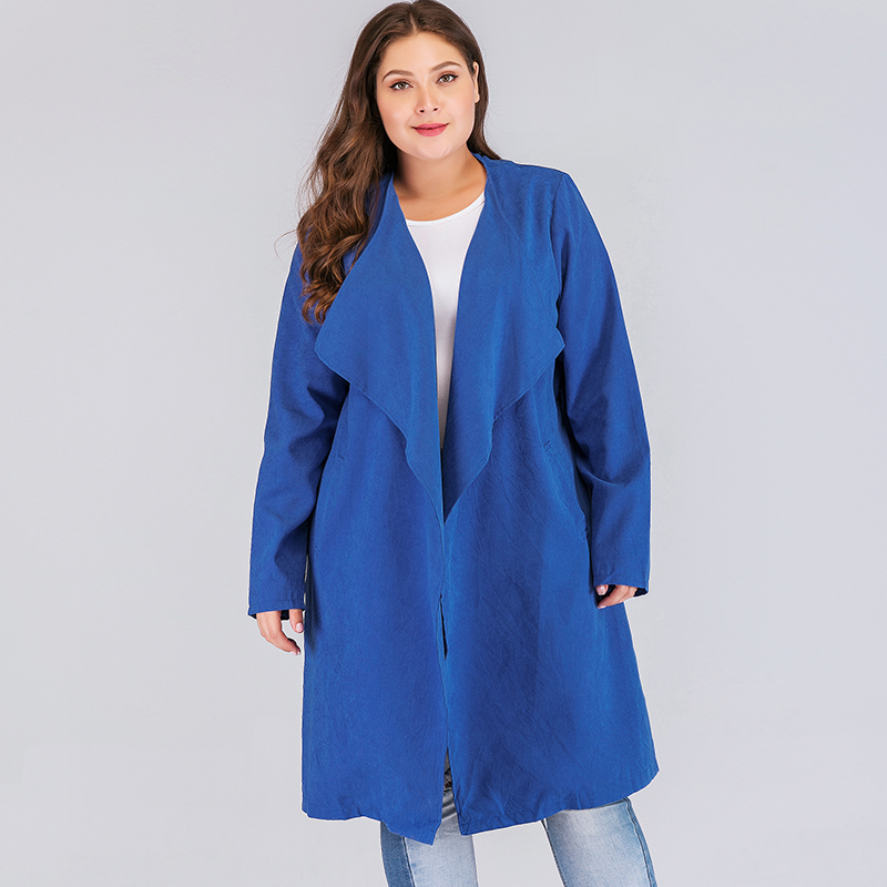 Fashion Women Plus Size Trench Coat Solid Turn-down Collar Cardigan Coat 2019 Spring Autumn Long Sleeve Bandage Slim Outerwear