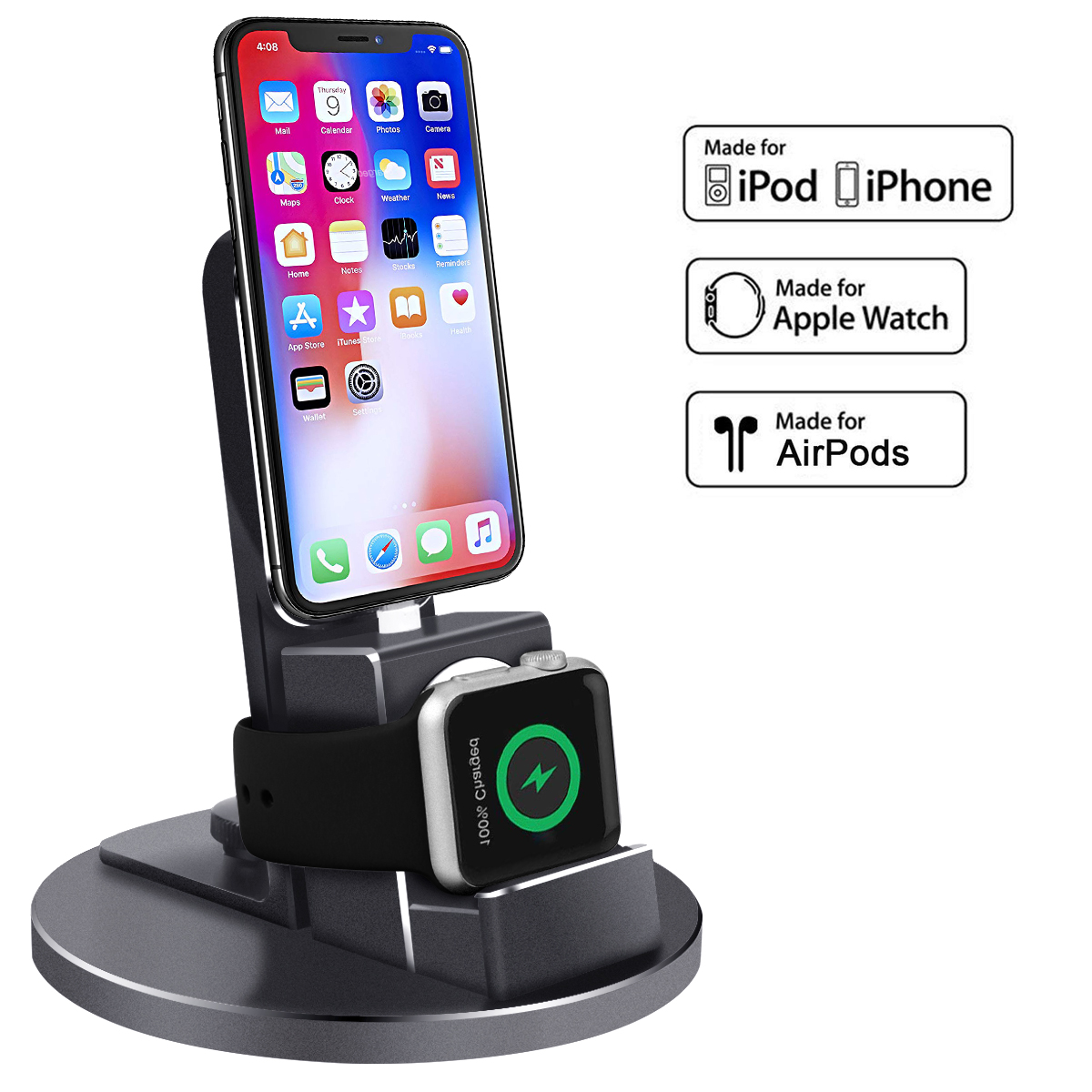 For iPhone iWatch AirPods iPod Multi Function Charging Stand 3 In 1 Metal Texture Desktop Phone charger Holder For xiaomi huawei