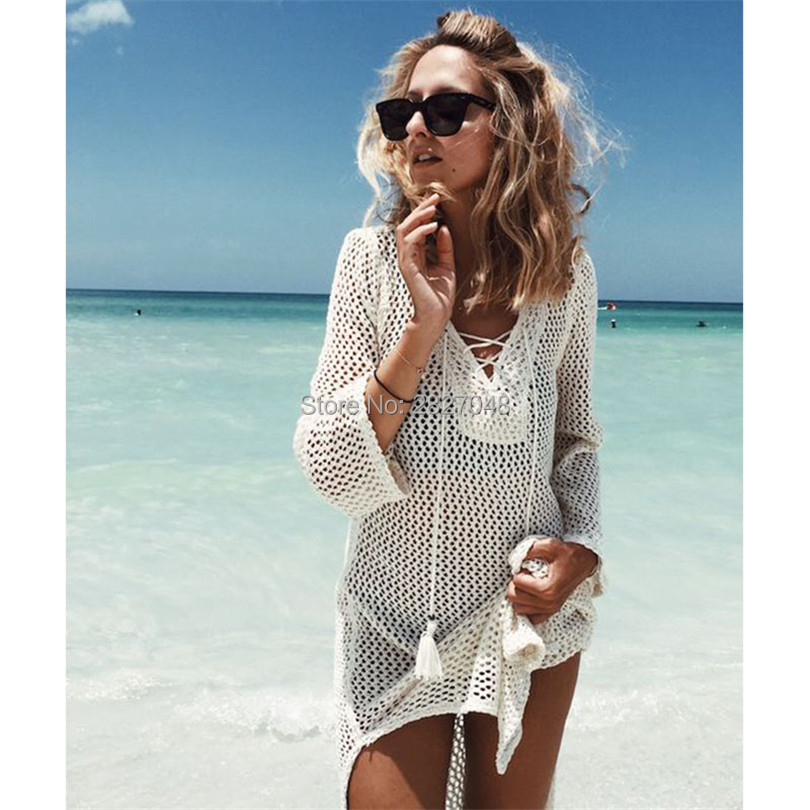 Crochet Beach Tunic Pareo Bandage Beach Cover Up Sexy Swimwear Cover Up Women Saida Praia Kaftan Beach Dress Bikini Cover Up
