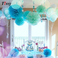15pcs 4 6 8(10cm 15cm 20cm) Tissue Paper Pom Poms Colorful Flower Kissing Pompom Balls for Wedding party home Decoration
