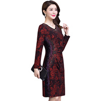 2018 Autumn Clothing New Pattern Middle Age Will Code Waist To Show Thin Printing Dress Woman Mom Dress Package Hip