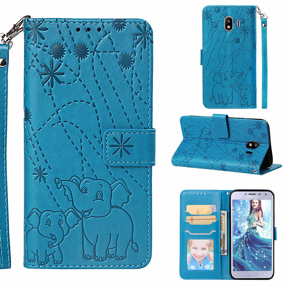 Flip Leather Book Phone Case Shell For Samsung Galaxy J3 J5 J7 2017 J4 Core J6 J8 2018 Note 9 Fireworks Elephant Embossed