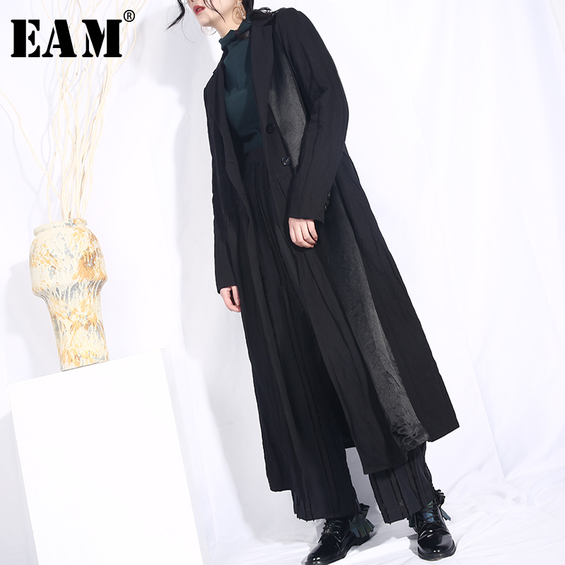 [EAM] 2019 New Spring Summer Lapel Long Sleeve Black Side Fold Split Joint Loose Long   Trench   Long Windbreaker Fashion WD391