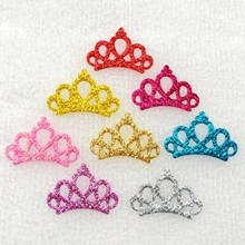 Fashion 80pcs/lot New DIY Party Glitter Felt Crown riverdale qatar uae patches Supply Birthday Applique DIY Hair Accessories(China)