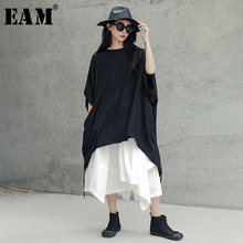 JU428 Tシャツ女性ファッション潮 [EAM] 春夏新作ラウンドネックハーフバットウィングスリーブ黒リボン包帯ビッグサイズロング