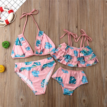 Семейные комплекты купальник для мамы и дочки, костюм из двух предметов, От 6 месяцев до 5 лет, детское бикини для маленькой девочки одежда для купания, бикини, набор, милый топ с оборкой