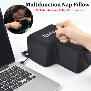 14x20cm Big Black USB Enter Key Nap Pillow Supersized Unbreakable Key Anti Stress Relief Button Computer Peripherals USB Gadgets