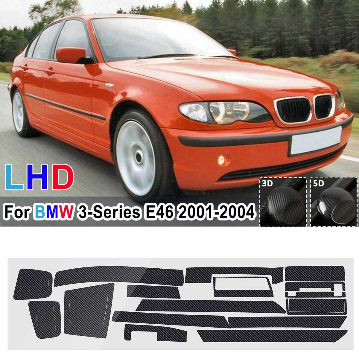 18Pcs Glossy/ Matte DIY Sticker Carbon Fiber Style Sticker Vinyl Decal Trim For BMW 3-Series E46 2001 <font><b>2002</b></font> 2003 2004 LHD Only image