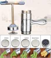 Manual do fabricante de macarrão imprensa máquina de macarrão manivela cortador frutas juicer panelas com 5 pressionando moldes fazendo espaguete utensílios de cozinha