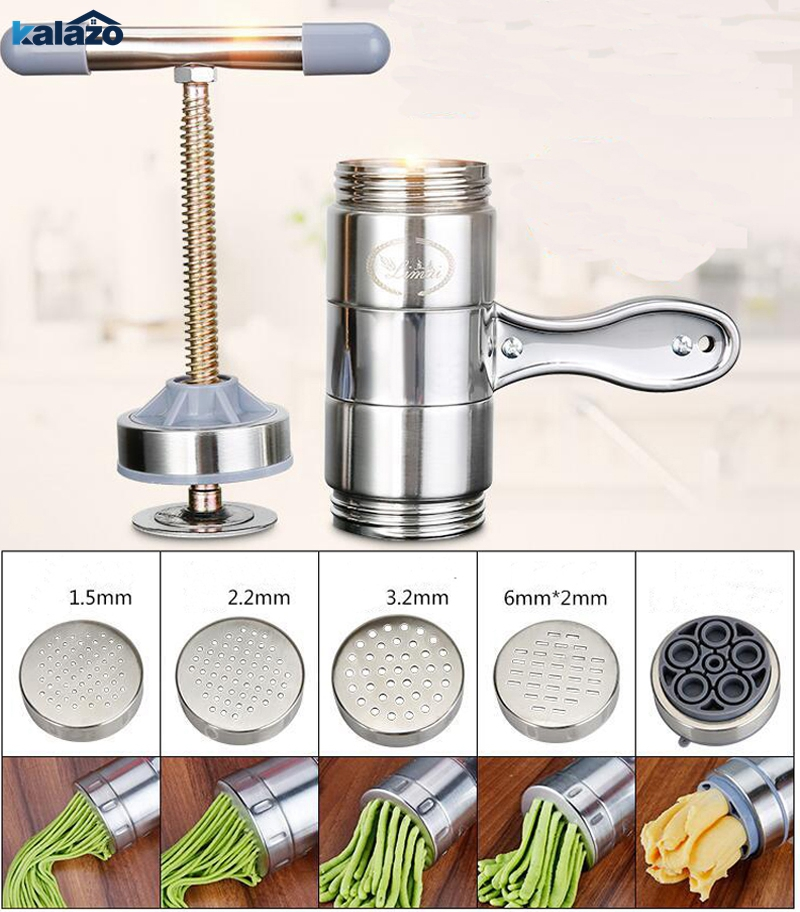 Manual Noodle Maker Press Pasta Machine Crank Cutter Fruits Juicer Cookware With 5 Pressing Moulds Making Spaghetti Kitchenware image