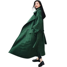 Winter Wool Blend Coat 2018 Fashion Mujer Womens Autumn Long Woolen Parka Overcoat Outwear Double Breasted Loose Cardigan ls74