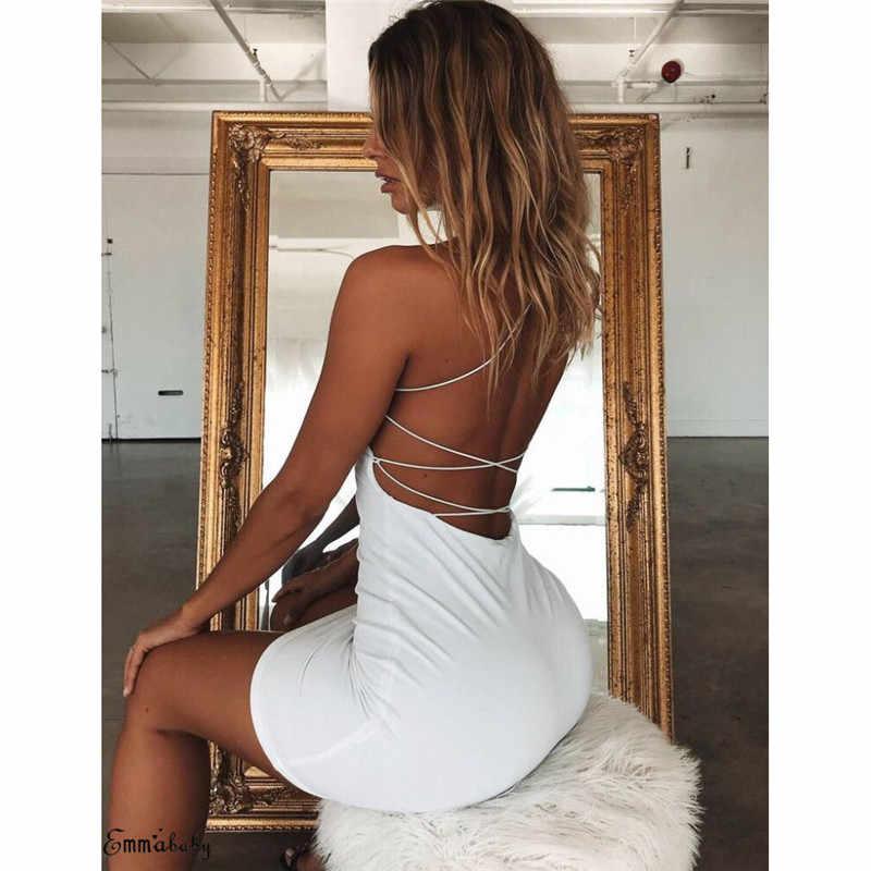 Summer Women Sexy Plain Solid Color Bandage Dress Elegant Backless Sleeveless Bodycon Evening Party Club Mini Dress