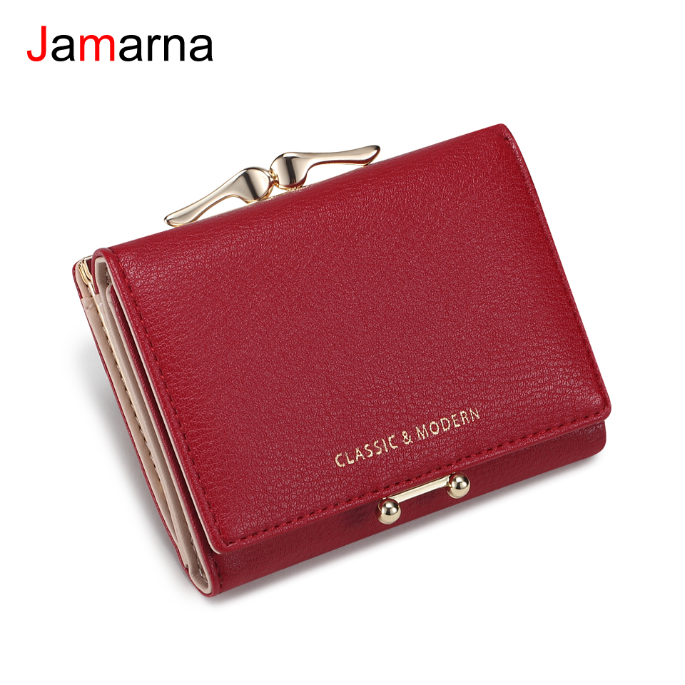 Jamarna Women Wallet Coin Purse Clasps PU Wallet Female Small Card Holder Clasps Design Slim Wallet Women Red Stylish Accessory