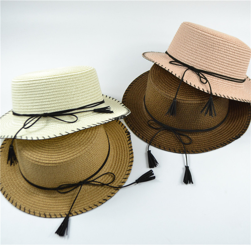 Korean Summer Hats Bow Flat Edge Sunscreen Straw Hat Outdoors Flat Roof Foldable Summer Sun Hat in Women 39 s Sun Hats from Apparel Accessories