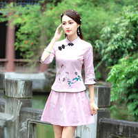 Guzheng Sets Chinese Cosplay Style Qi Pao Fashion Half Sleeve Tang Costume Elegant Short Suit Dress Massage Uniform XXL Clothing