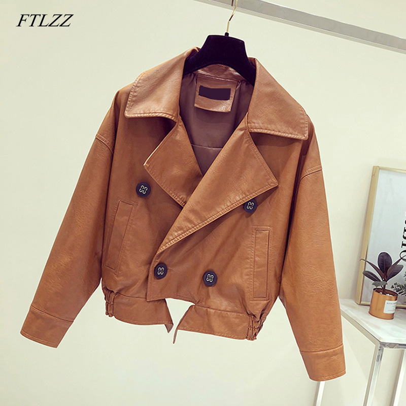 FTLZZ New Double Breasted Pu   Leather   Jacket Autumn Winter Women Casual Long Sleeve Faux Short Coat Female Bomber Jacket