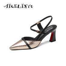 AIKELINYU Fashion Genuine Leather Women Sandals Mixed Color Square Heel Cusp End High Heels Pumps Lady Shoes Plus Big Szie 34-43 2017 time limited real fashion tenis feminino plus big size 34 43 sandals ladies lady fashion shoes high heel women pumps t865