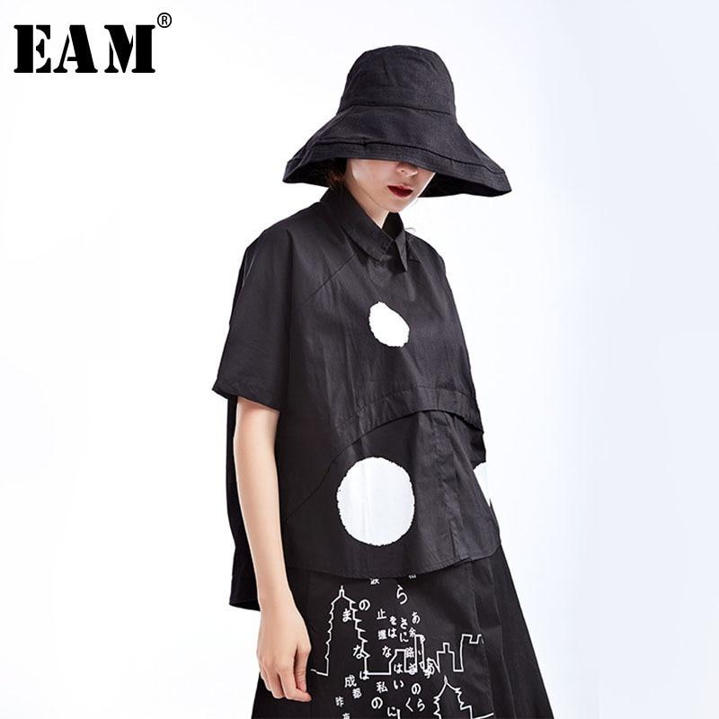 [EAM] 2020 New Spring Summer Lapel Short Sleeve Black Dot Printed Split Joint Loose Big Size Shirt Women Blouse Fashion JS789