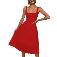 купить Women Summer Dress Casual Sleeveless Mid-Calf Ladies Elegant Dresses Sundress A-Line Tanks Plus  Size Sold Color Dress New Style по цене 836.2 рублей