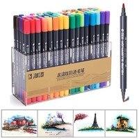 Sta 12/24/36/48/80 cores arte marcador caneta escova pontas duplas artista solúvel colorido esboço marcador para desenho design arte suprimentos