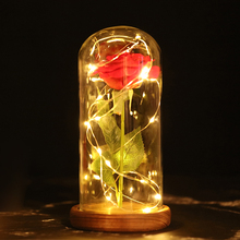 LED light Home Decoration Wedding Gift Preserved Flowers Flower Birthday Rose Night D20