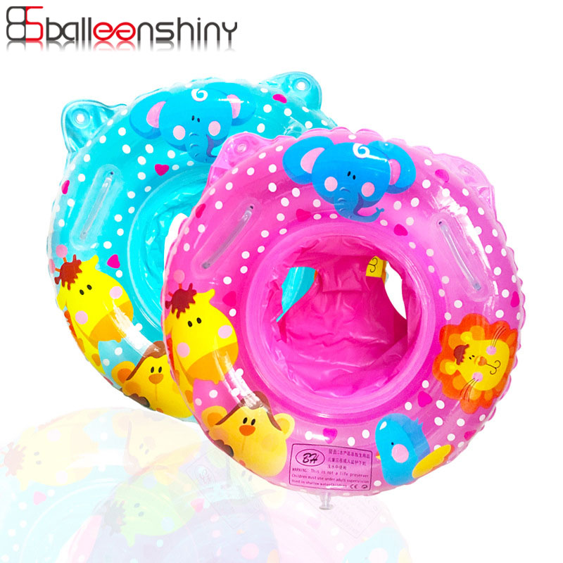 BalleenShiny Baby Swimming Ring Cartoon Kids Swim Seat With Handle For 1-4Y Inflatable Water Toys Swim Circle For Kids Swim