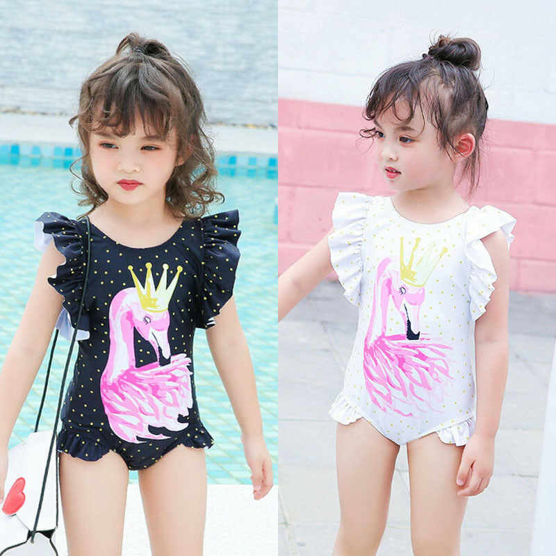 76ad7b4a23 ... Toddler kids Flamingo print Cute swimwear bikinis 2019 ruffles One piece  bathing costume swimsuits sport Baby ...