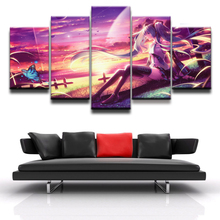 5 Panel Anime Vocaloid Hatsune Miku Girl Modern Home Wall Decor Canvas Picture Art HD Print Painting On For Living Room