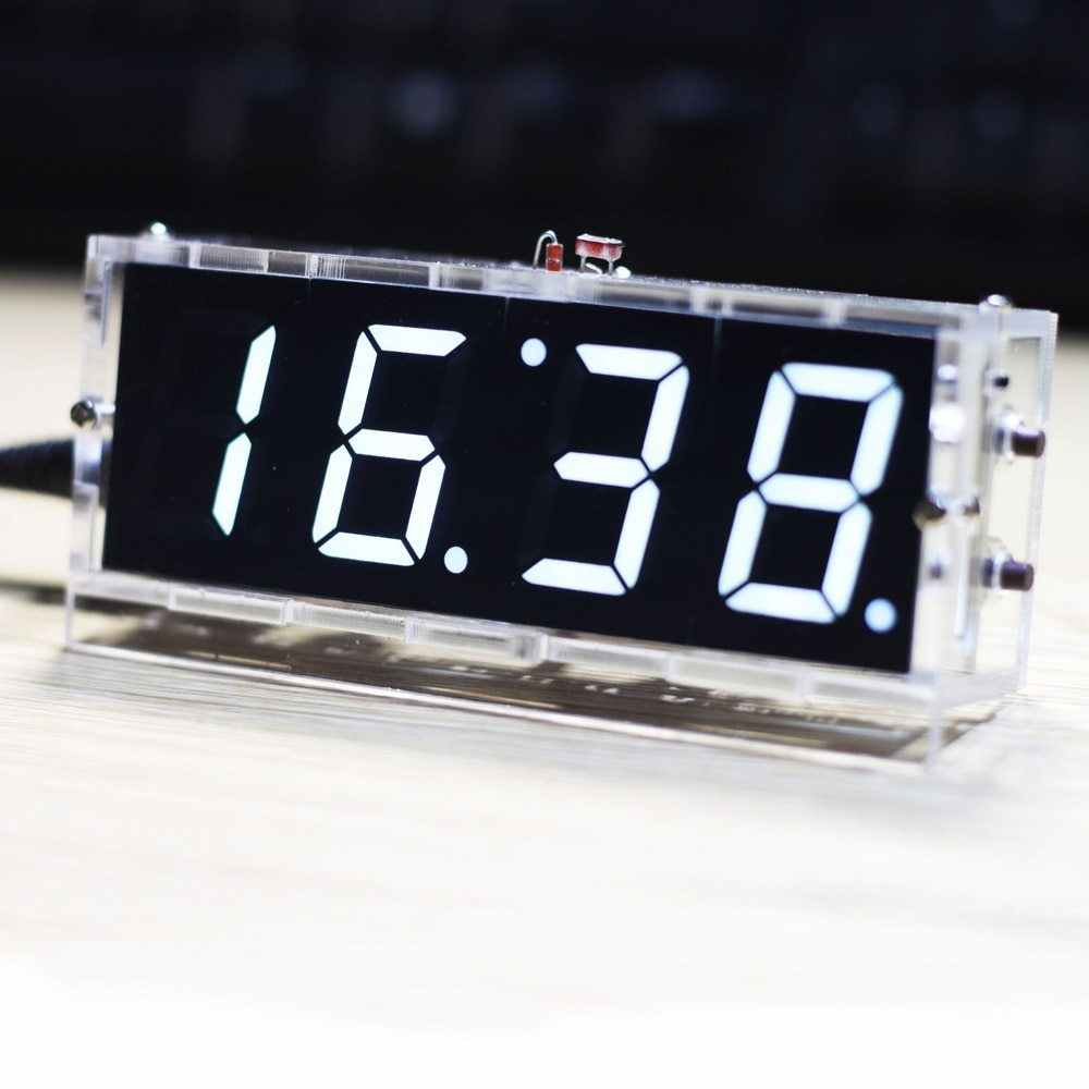 المدمجة 4 أرقام DIY الرقمية ساعة ليد عدة ضوء التحكم درجة الحرارة التسجيل عرض الوقت مع شفافة حالة الموقت DIY كيت