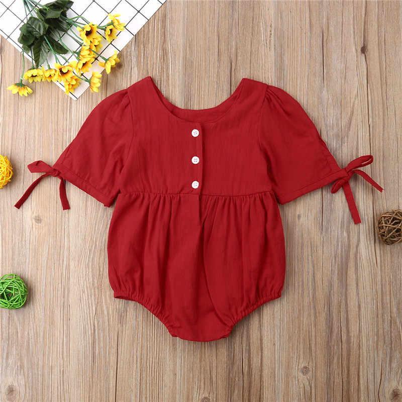 Комбинезон для новорожденного, для маленьких девочек, на шнуровке, Однотонная одежда красный Армейский зеленый комбинезон купальник комплект одежды; сезон лето