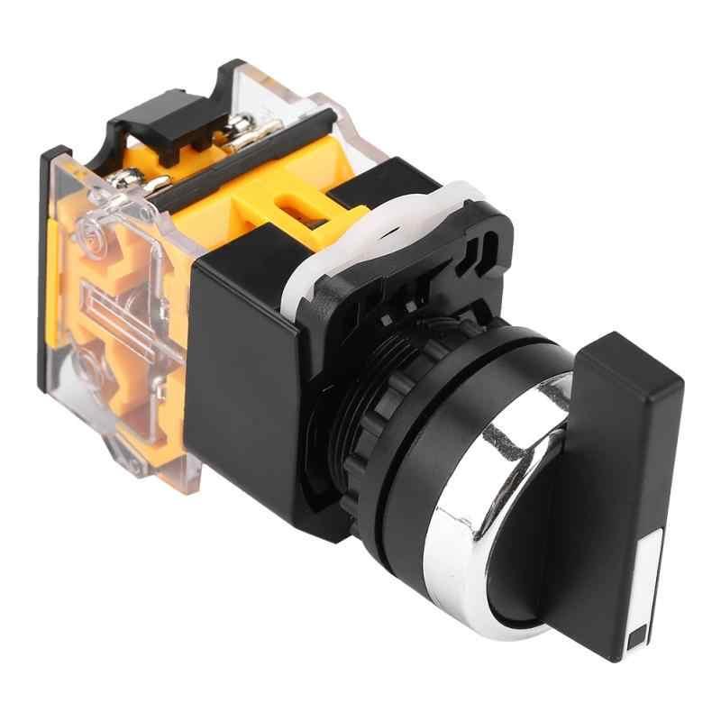 220 В/380 В автоматический сброс поворотный переключатель 22 мм 3 положения автоматический сброс селектор мгновенный поворотный переключатель длинная ручка LA38-20BX33 10A