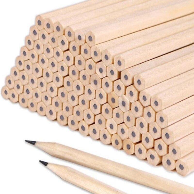 2019 10Pcs Promotion Material Escolar 2b Pencil Wood-cased Sketching Black Core Crude Wood Nontoxic Pencils