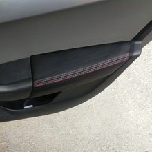 تصفيف السيارة ستوكات الجلود الداخلية الباب غطاء لوحة لمسند الذراع ملصق الكسوة لسكودا اوكتافيا 2015 2016 2017