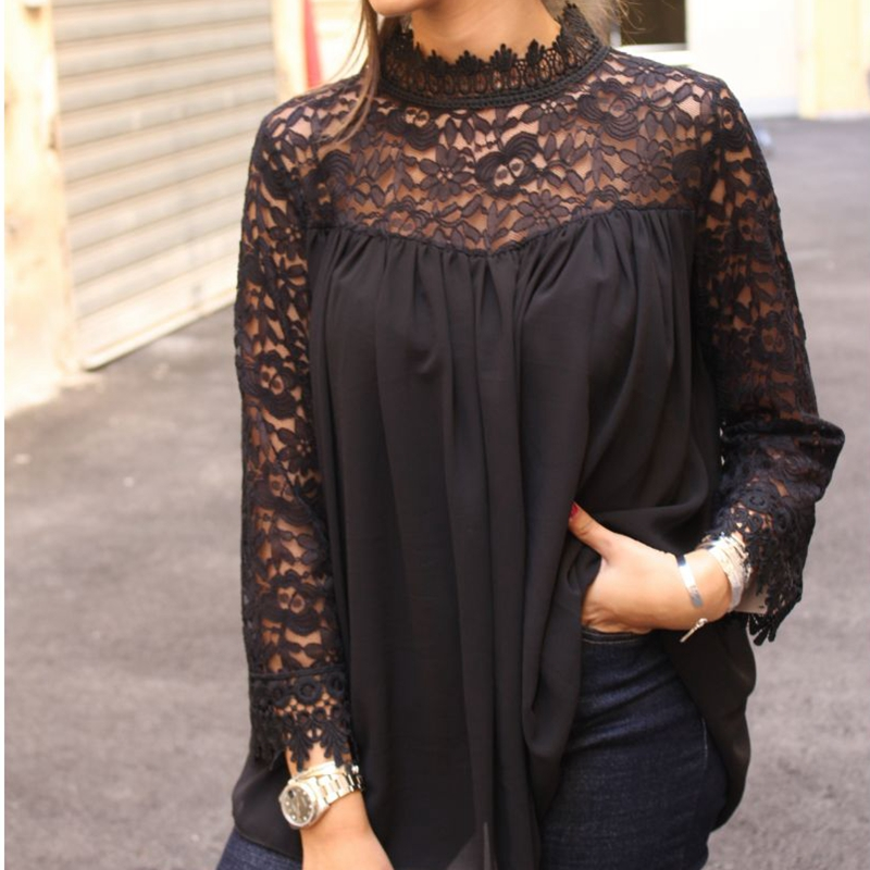 New Women Lace Sheer Sleeve Embroidery Top Blouse Lace Crochet Chiffon Shirt Femininas Blusas