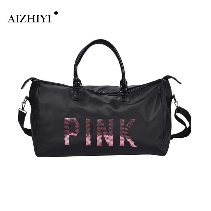 2019 Ladies Black Travel Bag Pink Sequins Shoulder Bag Women Handbag Ladies Weekend Sport Portable Duffel Bag Waterproof Bolsos
