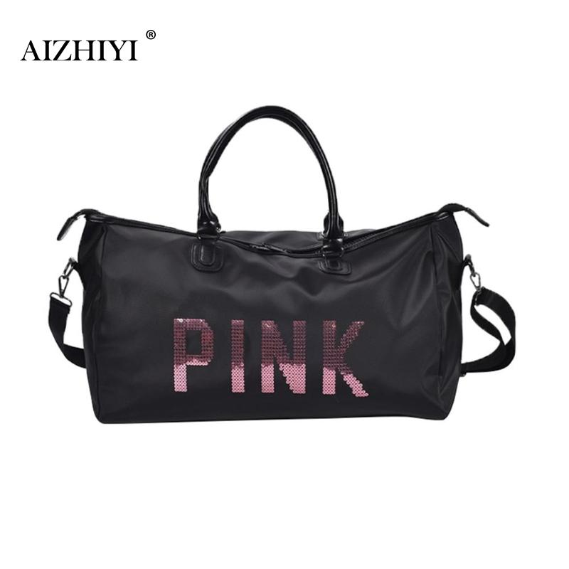 2019 Ladies Black Travel Bag Pink Sequins Shoulder Bag Women Handbag Ladies Weekend Sport Portable Duffel Bag Waterproof Bolsos