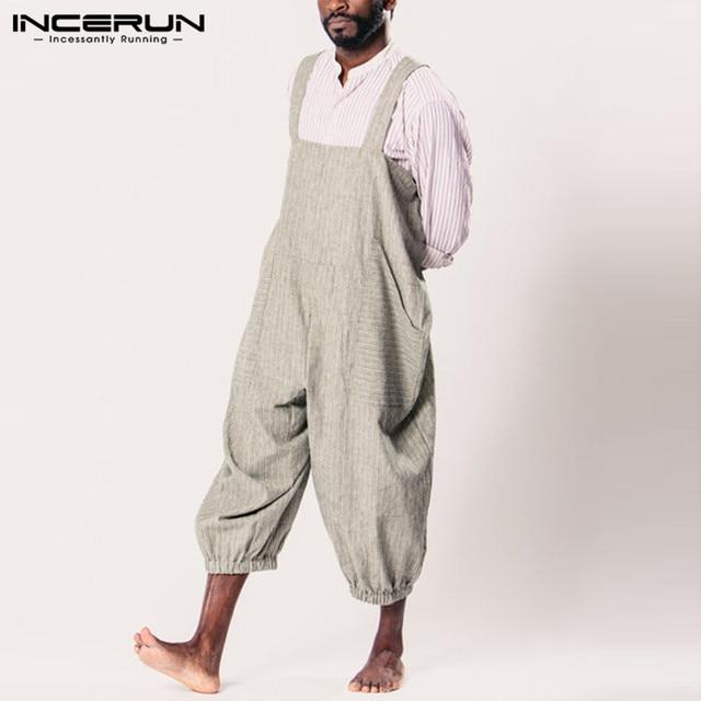 INCERUN 2019 Erkek Kadın Tulum Pantolon Gevşek Çizgili Rahat Tulum Sapanlar Moda Tulum Baggy Streetwear Cepler Pantolon Erkekler