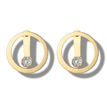 Simple Hollow Geometric Gold Round Circle Ear Stud Chic Crystal CZ Stud Earrings Elegant Fashion Jewelry Gifts For Women(China)