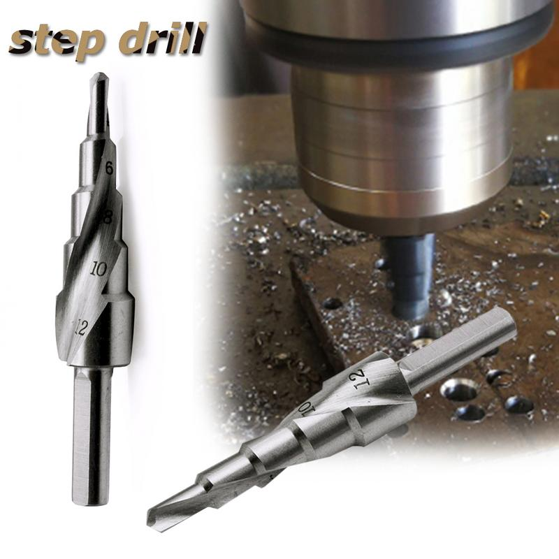 Triangular Shank Spiral Groove HSS Step Drill Bit Industrial Reamer Metal Hole Saw Shank Core Drill Bits