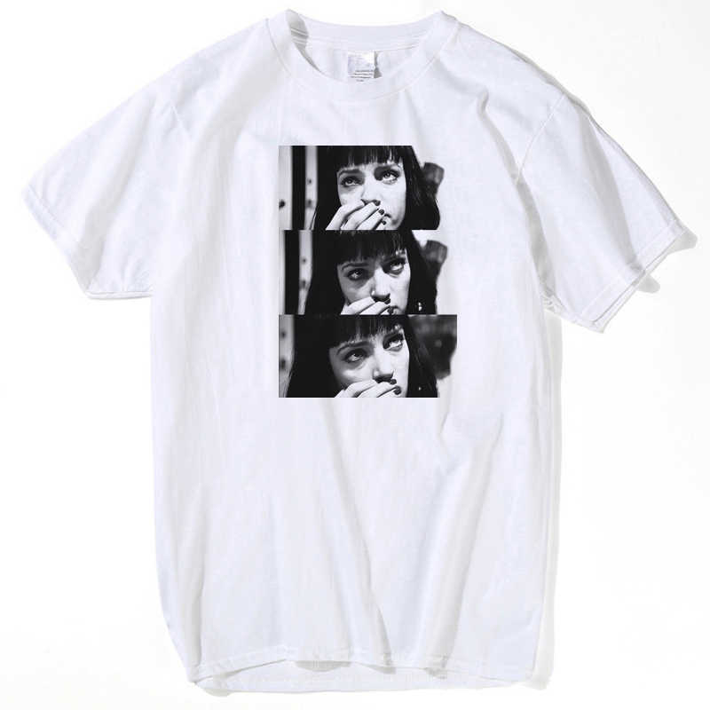 Spoof Harajuku Fiction T-shirt 2019 Zomer Nieuwigheid Femme Mia Wallace Leven is Saai Brief Print Vrouwen Mannen Unisex top tees