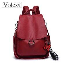 VOLESS Classic PU Leather women Backpacks 2019 School bags For Teenager Girls Red Tassel Ladies shoulder Bags Mochlia feminina