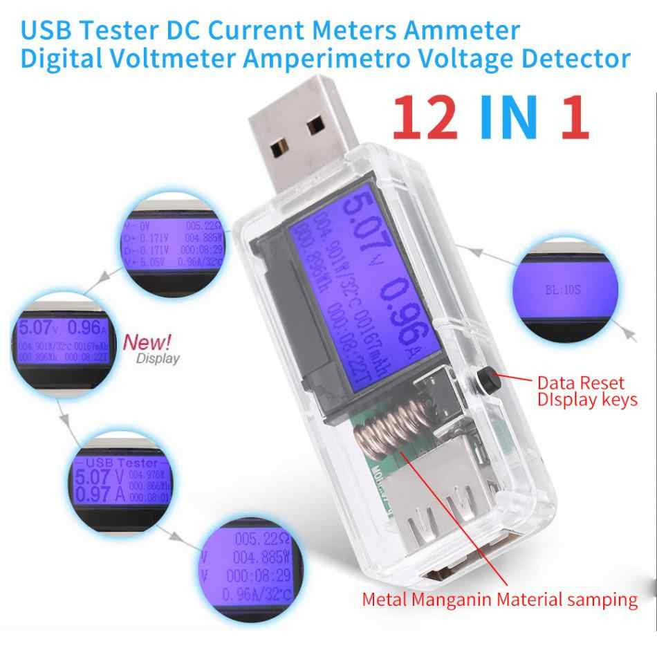 Testeur USB 12 en 1 voltmètre numérique DC ampèreimetro compteur de tension de courant ampèremètre voltammètre détecteur de tension